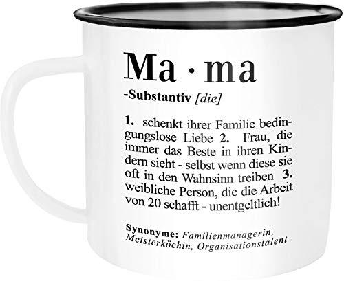Moonworks Emaille Tasse Becher Mama Definition Dictionary Wörterbuch Duden Geschenk für Mama Mutter Kaffeetasse Mama weiß-schwarz unisize