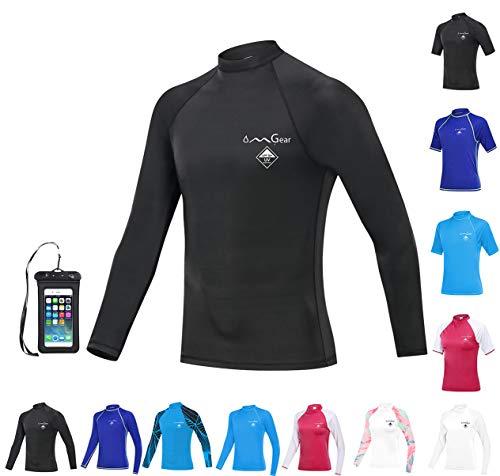 OMGear Rash Guard Swim Shirt Sun Block Short Long Sleeve Surf Tee Adult Kids Snorkeling Suit Swimsuit Top for Kayaking Boating Rafting Outdoors (Black(Long Sleeve), M)
