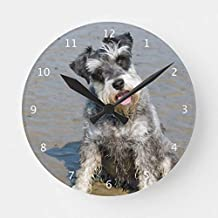 Classic Wood Clock, Non Ticking Clock Schnauzer Miniature Dog Cute Photo at Beach Gift Round Wooden Decorative Round Wall Clock