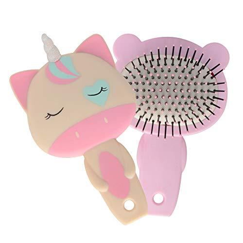2 Pack Bear Unicorn Wet Brush Hair Brush Kids Detangler Detangling Soft Massage Hair comb Bristles for Women Children Girls Braids Straight Curly Long or Short Wet Or Dry Hair Portable