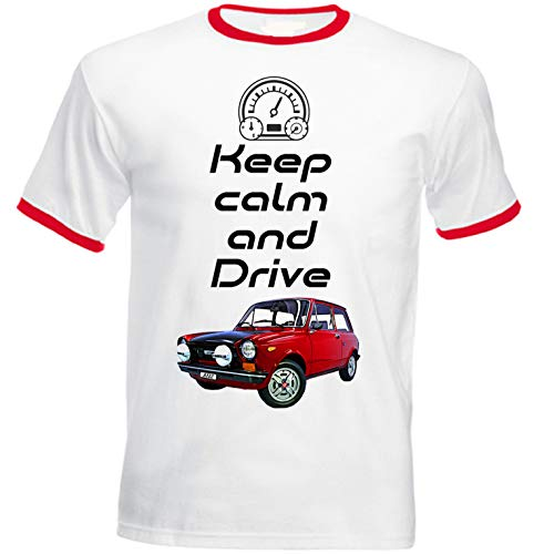 Teesandengines Autobianchi A112 Abarth Keep Calm T-Shirt de Hombre con Bordes Rojos Size Small
