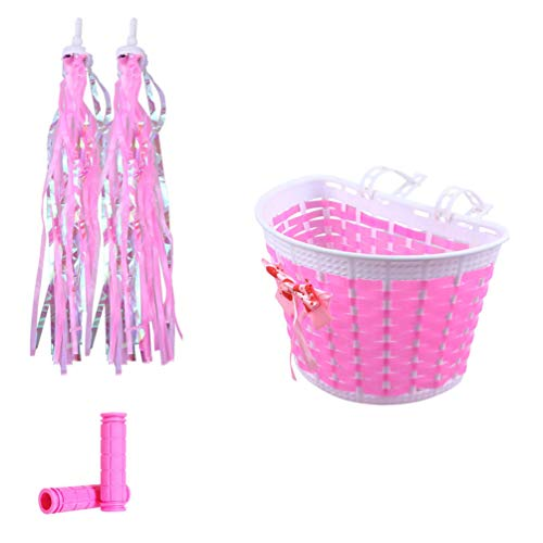 IMIKEYA 1 Set Kids Girls Bike Basket Streamer Handlebar Cover Set with Streamers Childrens Bike Accessories Set for Bicycle Tricycle Scooter Front Handlebar Decoration