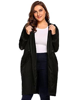 IN'VOLAND Plus Size Women's Lightweight Hooded Raincoat Active Outdoor Rain Jacket