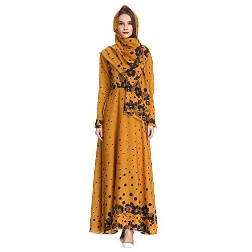 Meijunter Muslimisches Maxi Kleid mit Hijab für Damen - Langarm Abaya Dubai Kaftan Ethnische Robe mit Blumen Muster Kleider für Ramadan Gelb M