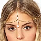 Runmi Muschel-Kopfkette Brautschmuck Kopfschmuck Gold