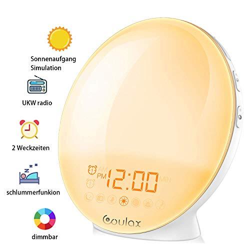 COULAX Lichtwecker Wake Up Licht Tageslichtwecker mit 2 Alarme Snooze Schlafhilfe Sonnenaufgang Sonnenuntergang Simulation 7 Wecktöne 20 Helligkeit FM Radio Wecker für Kinder Erwachsenen