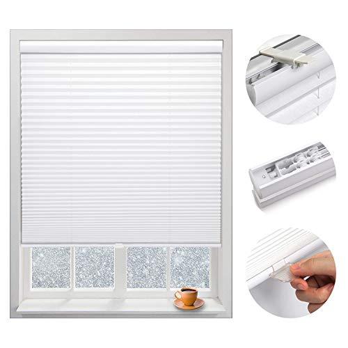 Plissee Faltrollo 75x130cm Jalousie Rollo Klemmfix Fensterrollo ohne Bohren für Sonnenschutz Sichtschutz Schallschutz, Schnurlos Verdunklungsrollo Klemmrollo für Fenster und Tür Weiß