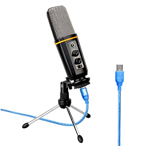 AYYNAM Microfoon USB Condenser Microfoon Cardioïde Mic ingebouwde geluidskaart voor Podcast, Game, Youtube Video, Opname Muziek, Voice Over