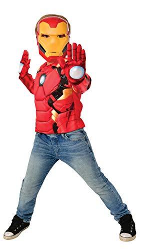 Rubies- Rubie'S Official Marvel Disfraz, Pecho Musculoso Iron Man con Accesorios, Infantil, Talla M, Liso, Color Amarillo, Rojo, Normal (G40228)
