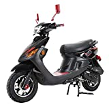 X-PRO X22 50cc Moped Scooter Street Scooter Gas Moped 50cc Adult Scooter Bike with 10' Aluminum Wheels! Assembled in Crate! (Black)