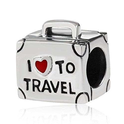 Charm a forma di valigetta in argento Sterling 925, con la scritta in lingua inglese I love to travel, per braccialetti Pandora (lingua italiana non garantita)