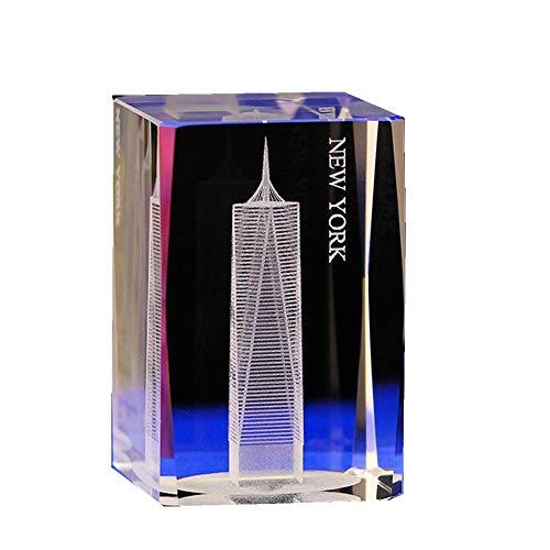 TYGJB Cristal Cube Modèle Cadeau 3D Laser Bureau À La Maison Décor Gravure Statue Feng Shui Souvenir Artisanat (New York)
