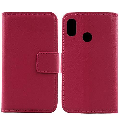 Gukas Design Echt Leder Tasche Für Xiaomi Mi A2 Lite/Redmi 6 Pro Hülle Lederhülle Handyhülle Handy Flip Brieftasche mit Kartenfächer Schutz Protektiv Genuine Premium Hülle Cover Etui Skin (Rosa)