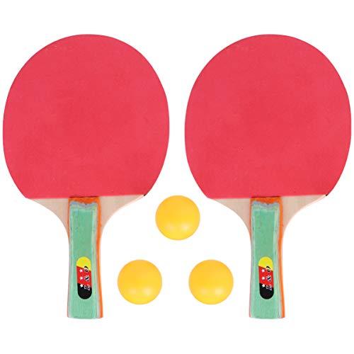 STOBOK Conjunto de Tênis de Mesa de Raquete de Ping Pong Com 2 Raquetes E 3 Bolas de Tênis de Mesa de Borracha Esponja Macia para Jogos Recreativos Profissionais