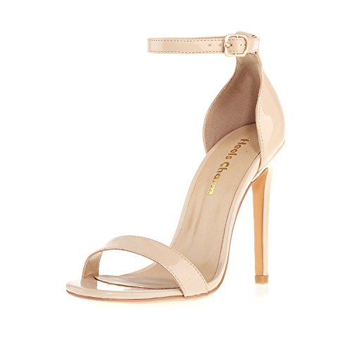 Heels Charm Women's Open Toe Stiletto Strappy Heeled Sandals Ankle Strap High Heel 11 cm Dress Party Work Dance Evening Wedding Sandals Nude Patent Leather Size 9