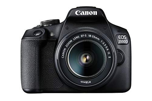 Canon EOS 2000D Spiegelreflexkamera Battery Kit mit 2 x Akku LP-E10 (24,1 MP, DIGIC 4+, 7,5 cm (3,0 Zoll) LCD, Display, Full-HD, WiFi, APS-C CMOS-Sensor) EF-S 18-55mm is II F3.5-5.6 is II, schwarz