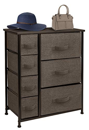 Sorbus Dresser with Drawers - Furniture Storage Tower Unit for Bedroom, Hallway, Closet, Office Organization - Steel Frame, Wood Top, Easy Pull Fabric Bins (Brown)