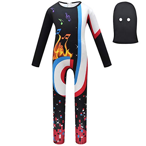 Halloween Dress Up for Boys, 8-9yrs Old Cartoon Printed Cosplay Costume Teens Disco Dancewear Jumpsuit Kids Long Sleeve Pretend Play for Themed Party Boy Costumes Music Fans Props Black