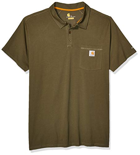 Carhartt Mens Force Cotton Delmont Pocket Polo Shirt, Moss, L