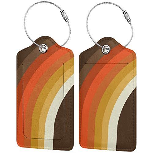 Gepäckanhänger im 70er-Jahre-Stil, Regenbogen-Kunst, 1970er-Jahre, minimalistisches Kunstleder, Koffer-Etiketten, Tasche, Reisegepäck-Tasche mit Sichtschutz, 2 Stück