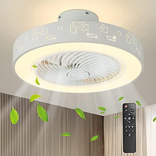 Ventilador de techo moderno con luces y ventilador de techo cerrado remoto Lámparas de ventilador de techo de perfil bajo, 20 pulgadas de hierro Fans de techo Tiempo 3 Iluminación de color 3 velocidad