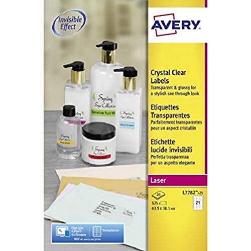 Avery L7782-25 - Pack de 25 folios de etiquetas brillantes, 63.5 x 38.1 mm , Transparentes
