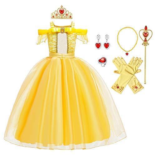 MYRISAM Costume da Principessa Belle per Ragazza Carnevale Costumi Halloween Cosplay Natale Festa Cerimonia Compleanno Partito Fantasia La Bella e La Bestia Abiti con Accessori 10-11 anni