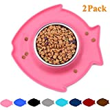 Vivaglory Puppy Bowls, 2 Pack Small Dog Bowl for Food and Water, Stainless Steel Spill Proof Pet Feeding Station, Pink