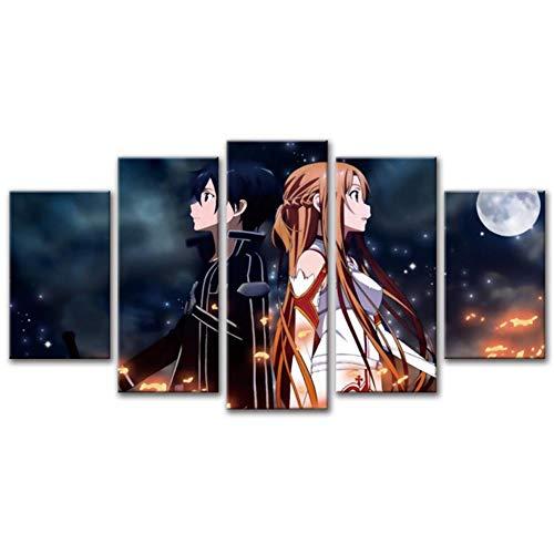 WYH-YW Cuadro en Lienzo Sword Art Online Anime Impresión 5 Piezas Moderno Artística Imagen Gráfica Decoracion de Pared 150X80cm No Frame