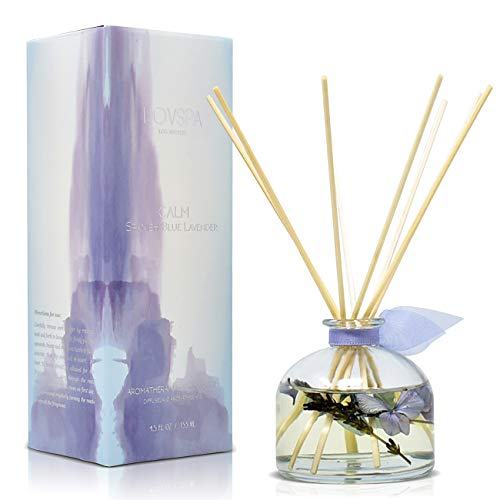 LOVSPA Calm Spanish Blue Lavender Reed Diffuser Gift Set | Lavender, Clary Sage & Violet Leaf Essential Oils | Relaxing, Calming Gift Idea