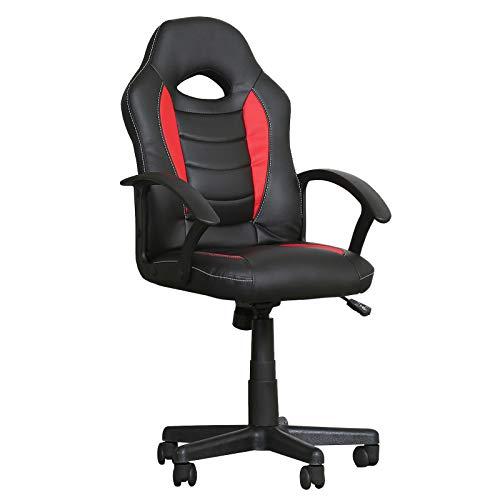 Ergonomischer Gaming-Stuhl von ANJ Home, Bürostuhl mit hoher Rückenlehne, höhenverstellbarer Rennstuhl, Chefsessel mit Lordosenstütze, 300 Pfund, rot und schwarz
