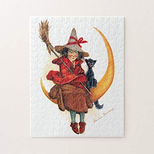 CICIDI Frances Brundage: Witch on Sickle Moon Jigsaw Puzzle 1000 Pieces for Adult Entertainment DIY Toys , Graet Gift Home Decor