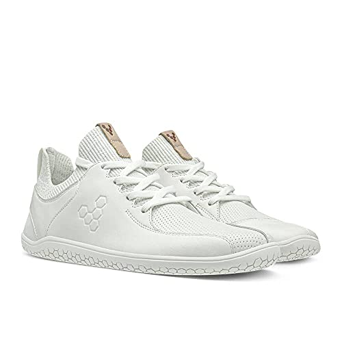 Vivobarefoot Primus Knit Lux, Womens Leather Premium Lifestyle Shoe, with Barefoot Sole White