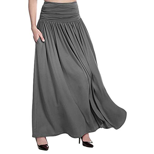 GNEHSL Frauenröcke,Maxi Röcke Mit Gummizug, Frauen Plus Size Fashion Hohe Taille Langen Rock, Sommer Lässig Swing Gipsy Rock Grau, XXL
