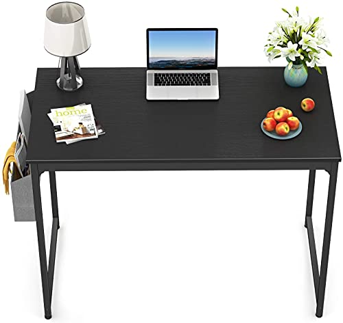 """STAR WORK Black Metal Frame Modern Simple Computer and Study Desk with Storage Bag and Hook for Home and Office (Black, 30"""" H X32"""" W X19""""D IN)"""