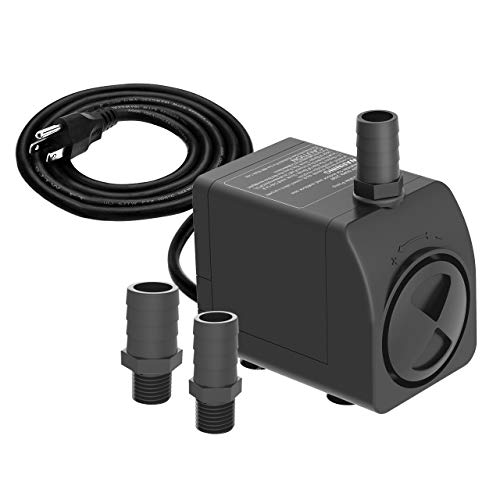 Knifel Submersible Pump 300GPH Ultra Quiet with Dry Burning Protection 6ft High Lift for Fountains, Hydroponics, Ponds, Aquariums & More………