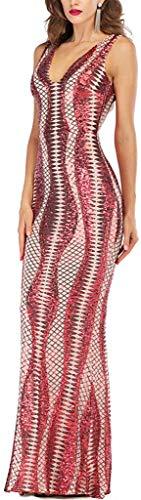 veRLene💕 Sequin V Neck Fringe Backless Spaghetti Strap Party Dress for Women,Red,Medium