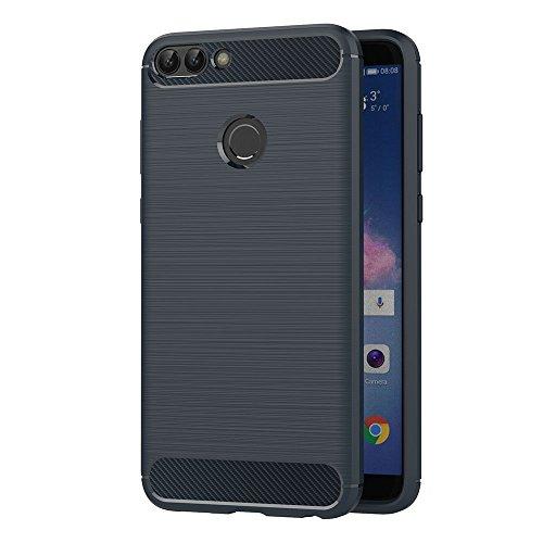 AICEK Funda Huawei P Smart, Azul Silicona Fundas para Huawei P Smart Carcasa Huawei P Smart Fibra de Carbono Funda Case (5,65 Pulgadas)