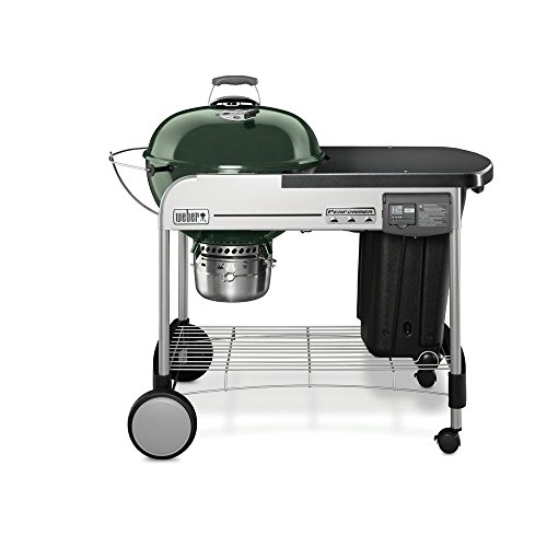Weber 15501001 Performer Deluxe Charcoal Grill, 22-Inch, Touch-N-Go gas ignition system, Green