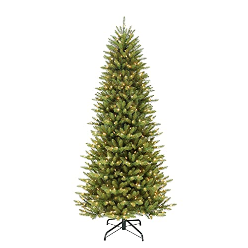Puleo International 7.5 Foot Pre-Lit Slim Fraser Fir Artificial Christmas Tree with 500 Clear UL Listed Lights, Green