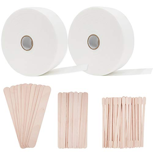 BQTQ Wax Strips Waxing Sticks Kit Including 2 Rolls Non-woven Waxing Strip and 70 Pcs Wooden Wax Stick Wax Applicator Sticks for Body Facial Nose Eyebrow Hair Removal, 2.75 Inch x 55 Yards