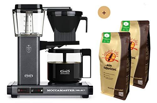 Moccamaster Filter Kaffeemaschine KBG Select stone grey (grau), 1.25 Liter, 1520 W, Black Aktionspaket mit 2 * 500 gr. Filterkaffee von Mondo del Caffè