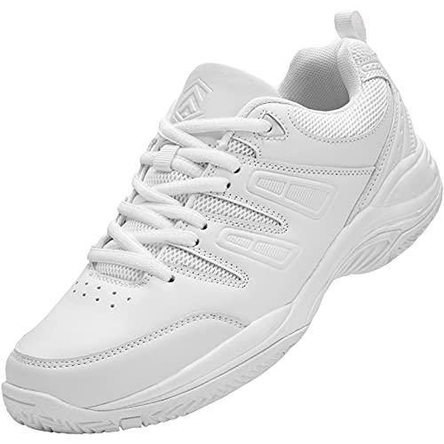 URDAR Zapatillas Mujer Hombre Transpirables Deportivas de Malla Antishock Sneakers Negro Blanco Zapatillas (Blanco,38.5 EU)