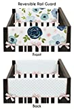 Sweet Jojo Designs Navy Blue and Pink Watercolor Floral Girl Side Crib Rail Guards Baby Teething Cover Protector Wrap - Set of 2 - Blush, Green and White Shabby Chic Rose Flower Polka Dot