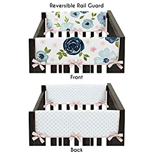 Sweet Jojo Designs Navy Blue and Pink Watercolor Floral Girl Side Crib Rail Guards Baby Teething Cover Protector Wrap – Set of 2 – Blush, Green and White Shabby Chic Rose Flower Polka Dot