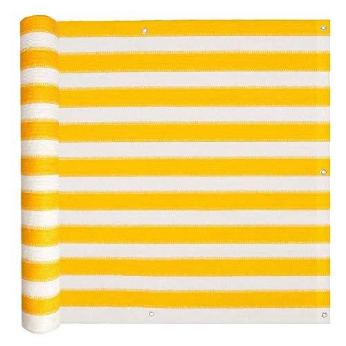 lyrlody- Malla de vista para balcón, protección contra las miradas, para balcón, con ojales y cordones para balcón, jardín, terraza de deporte, 75 x 400 cm, amarillo y blanco