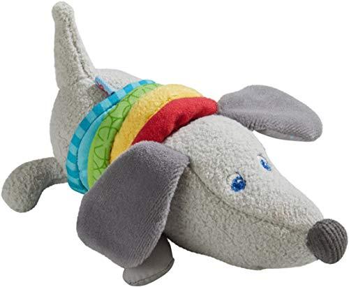 HABA 304771 - Ratterfigur Dackel, Baby-Spielzeug aus Stoff mit Rattermotor, Spielzeug ab 6 Monaten