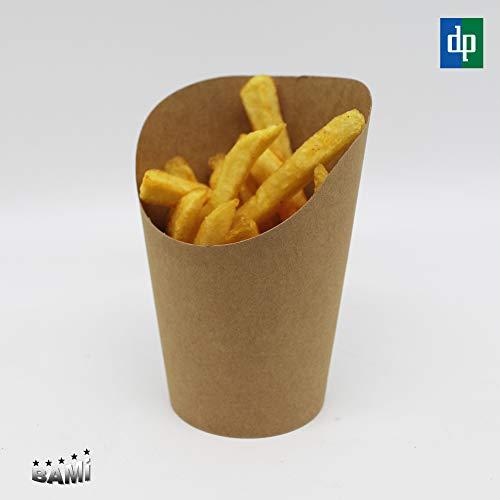BAMI EINWEGARTIKEL 500 x Pommesschütte Pommes Becher Pommesbox Pommestüte Wrap-Box aus Pappe, Braun, 12oz, 90x59mm H=118mm (70mm)