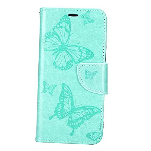 Estuche para Teléfono con Billetera Cuero PU para iPhone 12 Pro, Estuche para Billetera con Estampado Mariposa en Color Sólido Portátil, Estuche para Billetera con Botón Magnético, Estuche(Verde)