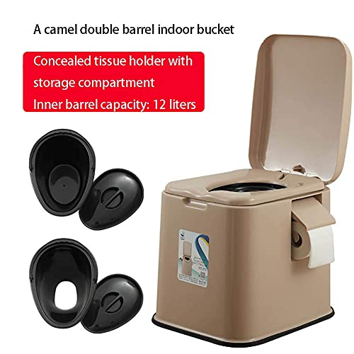 MADHEHAO Portable Toilet, Portable Camping Toilet, 12L Travel Toilet with Inner Bucket, Handle & Paper Holder, Outdoor Caravan Picnic Fishing Mobile Toilet,BA